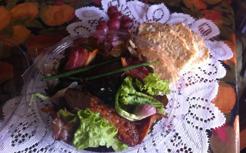A winter salad - homemade sausages, bacon and pudding from Rigneys Farm