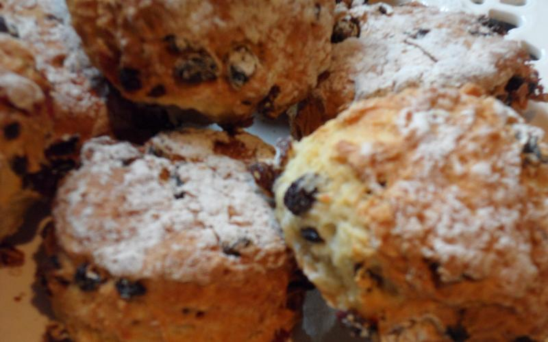 Freshly baked scones by Caroline, just out of the oven
